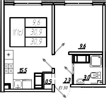 2Е-комнатная, 30.9 м²– 2