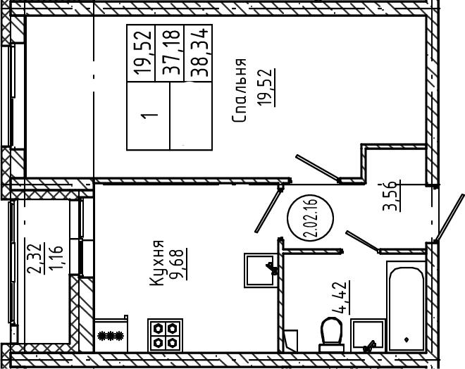 1-комнатная, 38.34 м²– 2