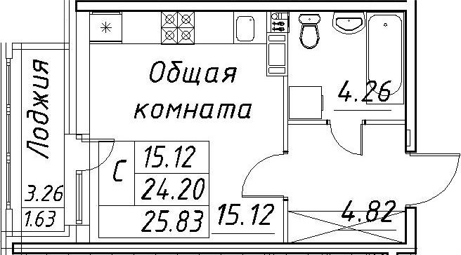 Студия, 25.83 м²– 2