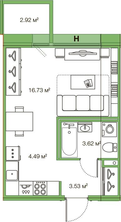 Студия, 28.37 м²– 2