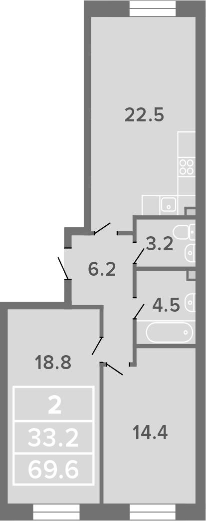 2-к.кв, 69.6 м²