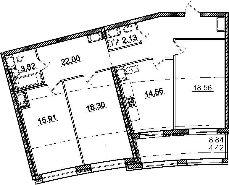 3-к.кв, 104.12 м²