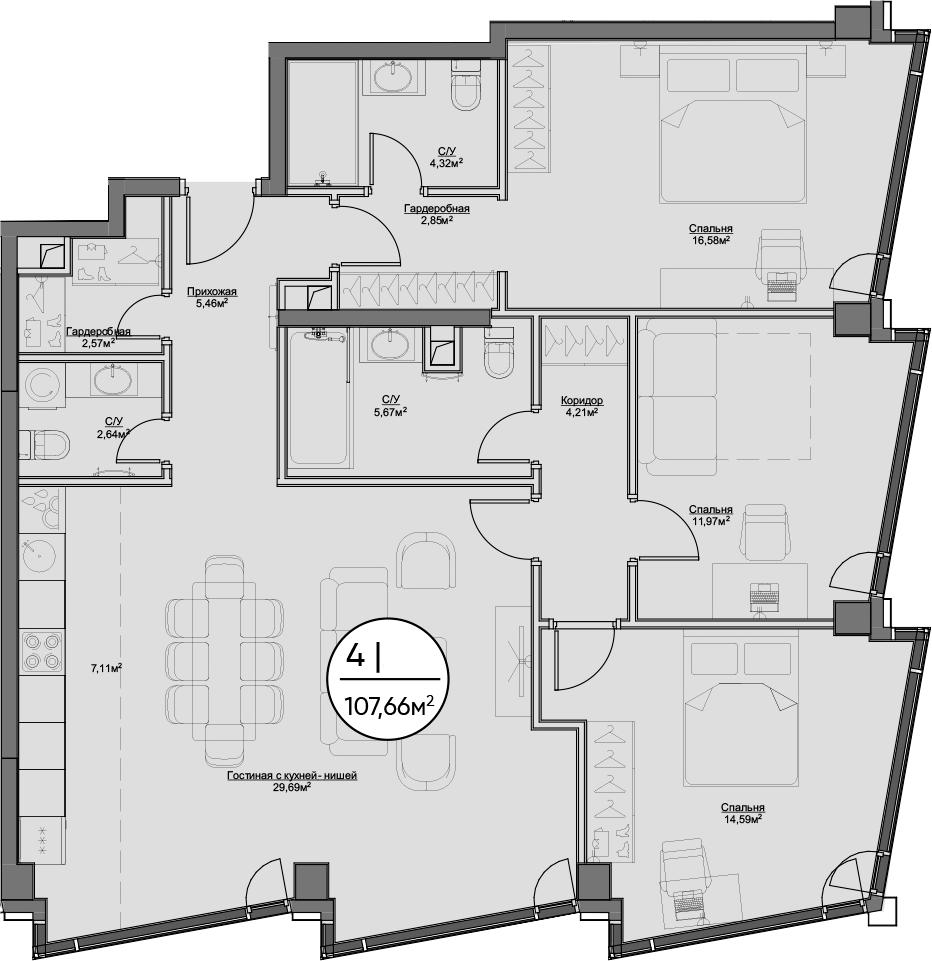4Е-к.кв, 107.66 м²
