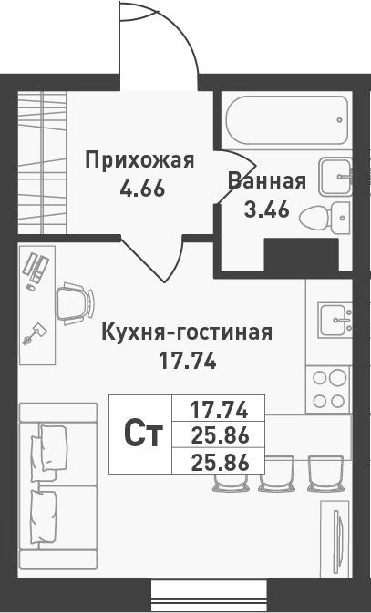 Студия, 25.86 м², 2 этаж