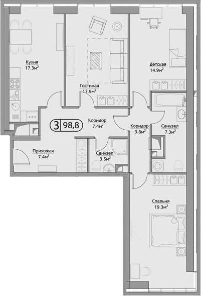 3-к.кв, 98.8 м²