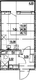 Студия, 29.56 м²