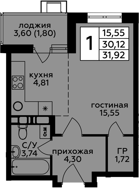Студия, 33.72 м²