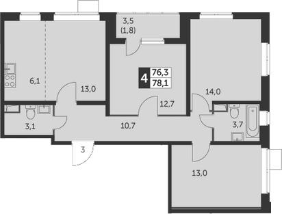3-комнатная, 78.1 м²– 2