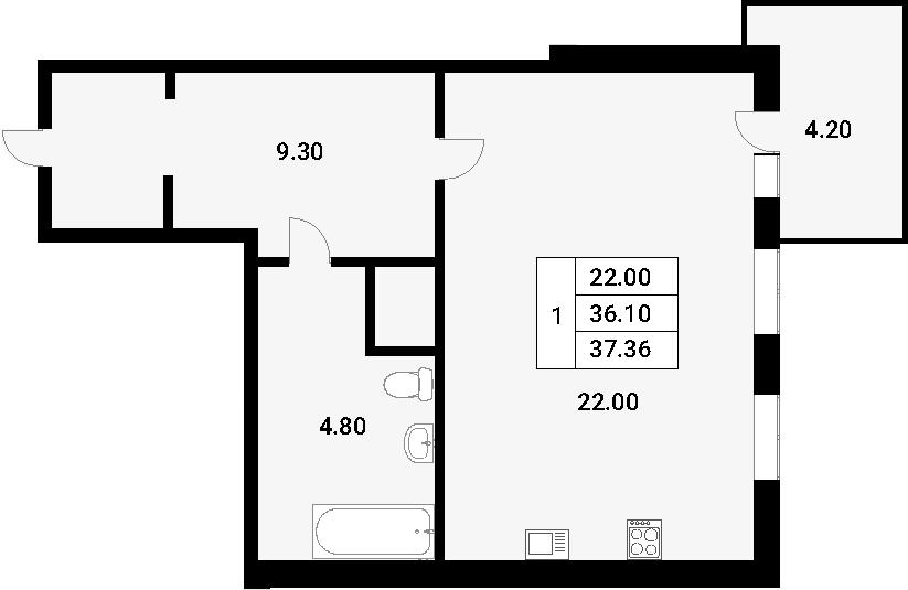 Студия, 40.3 м²