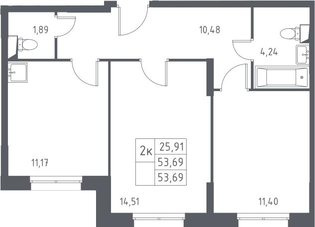 2-к.кв, 53.69 м²