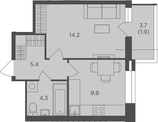 1-к.кв, 35.6 м², 12 этаж