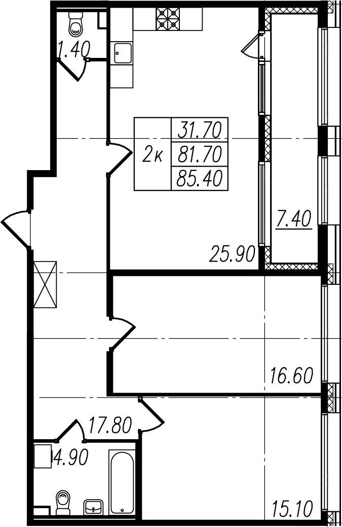 3Е-комнатная, 81.7 м²– 2