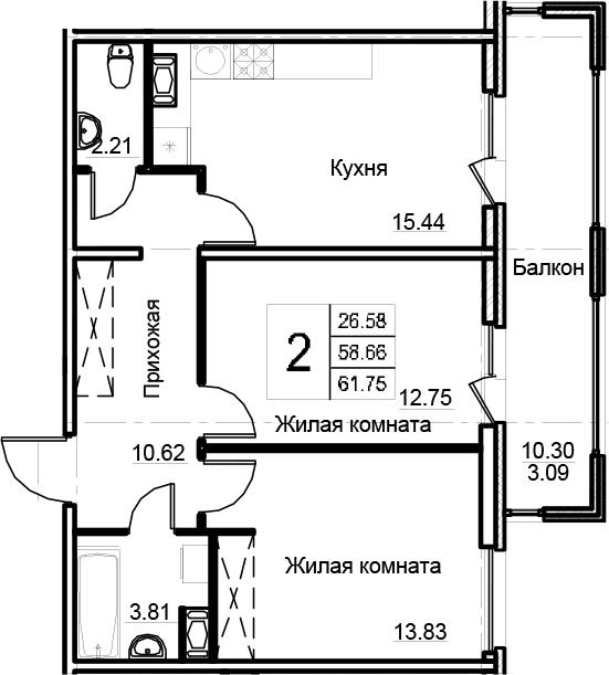 3-к.кв (евро), 68.96 м²