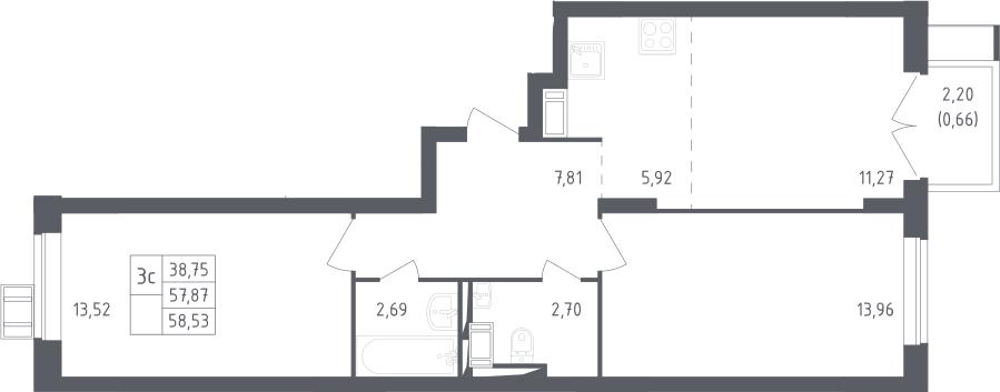 3Е-к.кв, 58.53 м², от 12 этажа