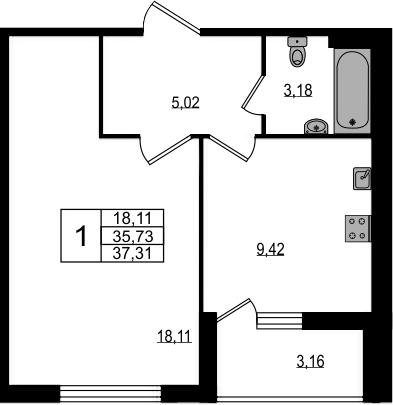 1-комнатная, 37.31 м²– 2