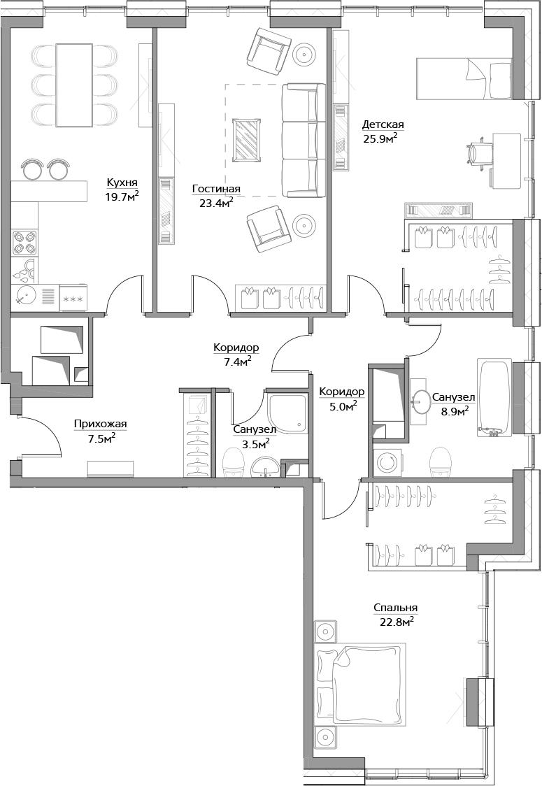 4Е-комнатная, 124.1 м²– 2