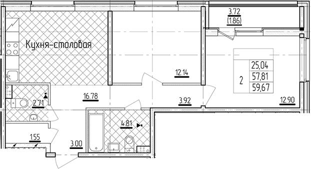 2-к.кв, 59.67 м²