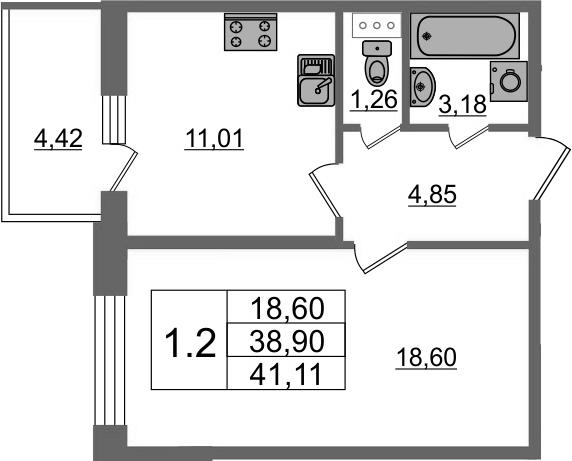 1-к.кв, 43.32 м²