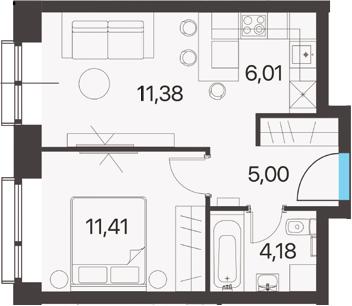 2Е-к.кв, 37.98 м², 11 этаж