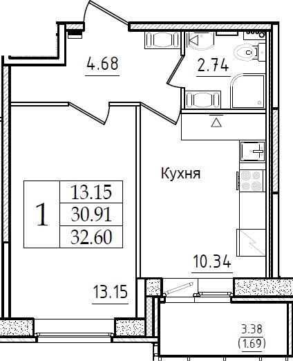 1-к.кв, 32.6 м², 11 этаж