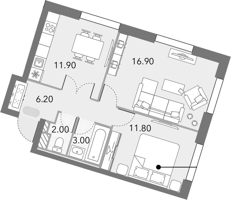 2-к.кв, 51.8 м²