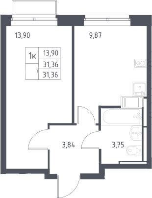 1-к.кв, 31.36 м²