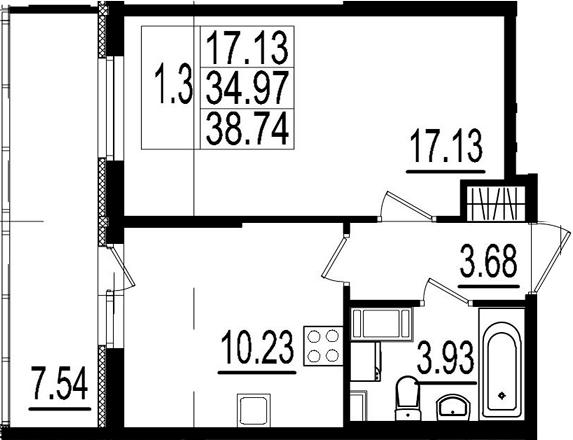 1-к.кв, 34.97 м²