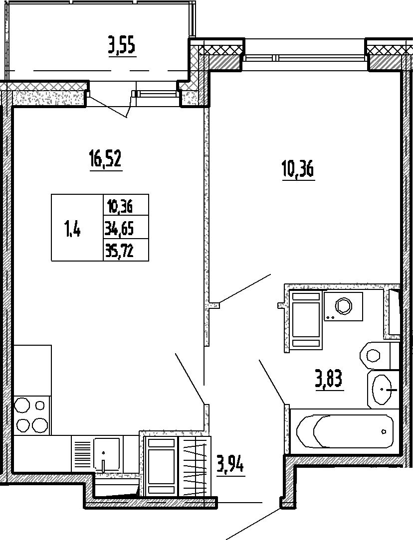2Е-комнатная квартира, 34.65 м², 10 этаж – Планировка