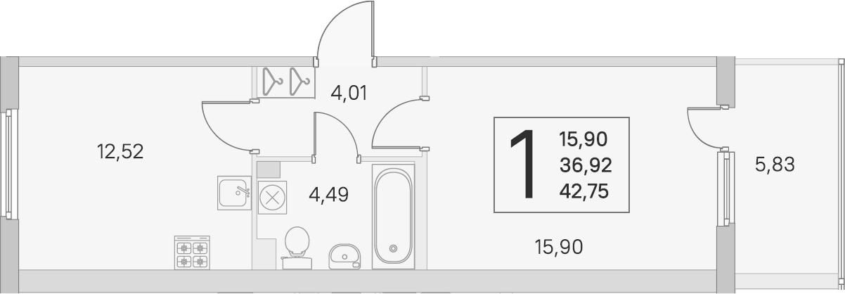 1-к.кв, 36.92 м², 2 этаж