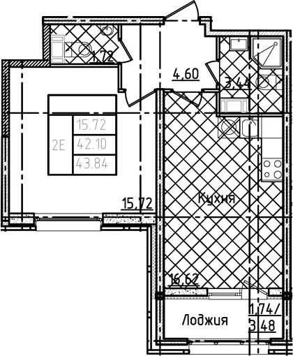 2Е-комнатная, 43.84 м²– 2