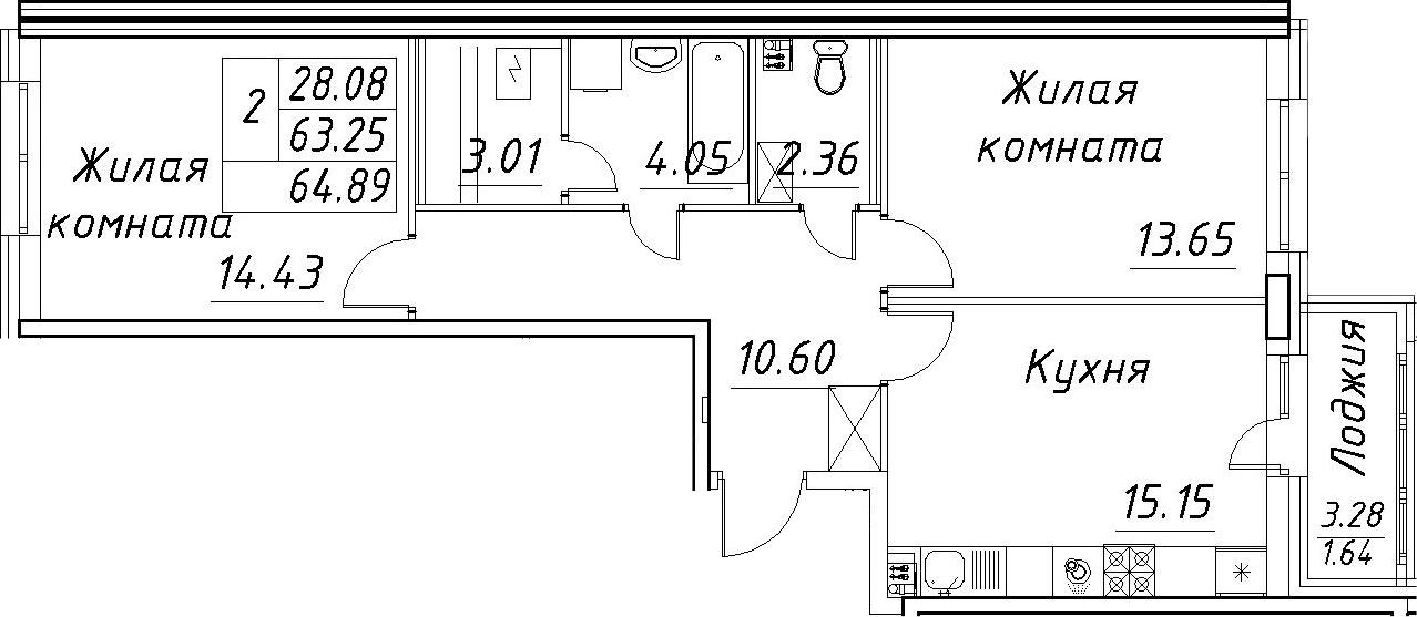 3-к.кв (евро), 66.53 м²