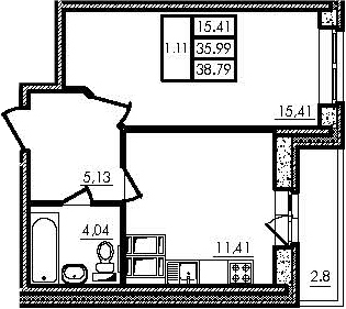 1-комнатная, 35.99 м²– 2