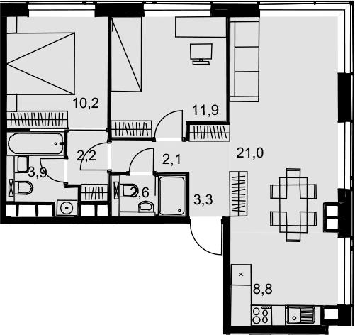 3Е-комнатная, 66 м²– 2