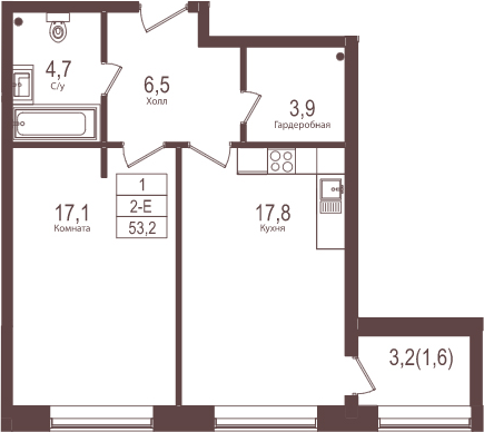 2Е-к.кв, 53.2 м²