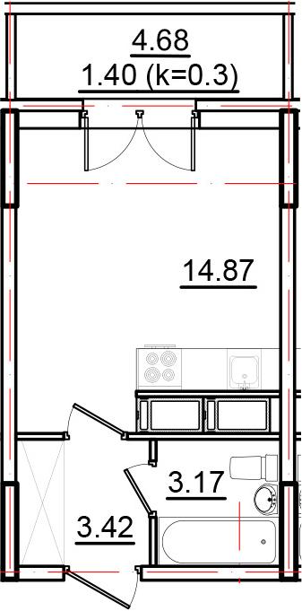 Студия, 26.13 м²