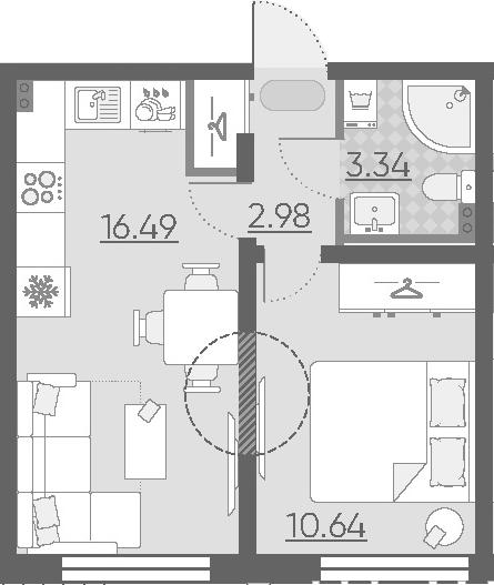 2-к.кв (евро), 33.45 м²
