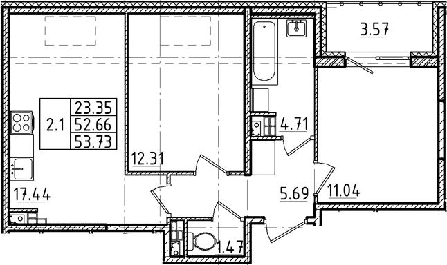 3Е-комнатная, 52.66 м²– 2