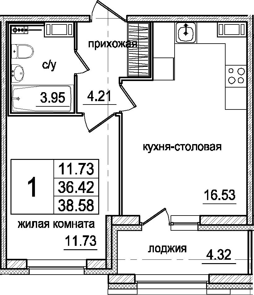 2-к.кв (евро), 40.74 м²
