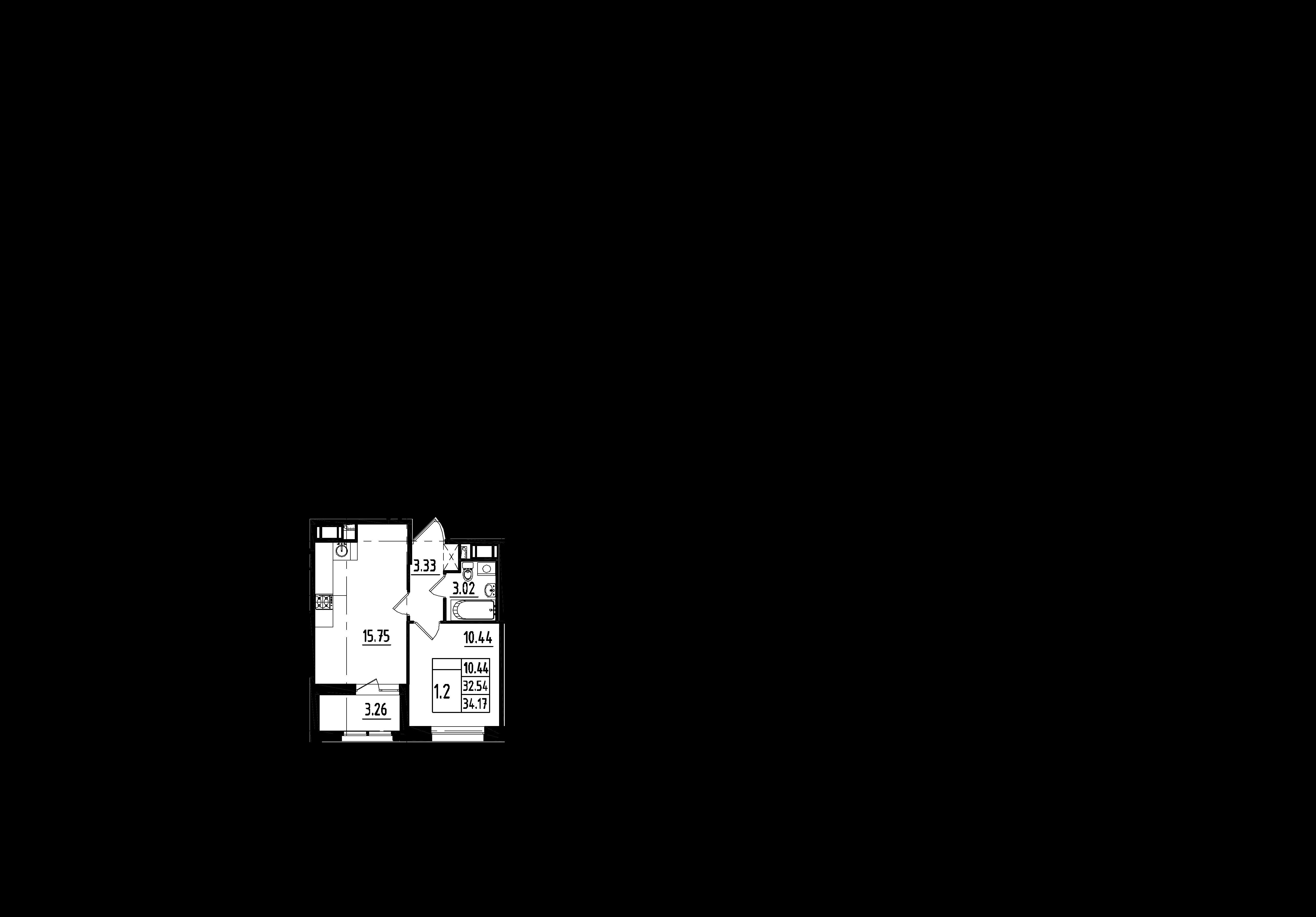 2Е-к.кв, 32.54 м²