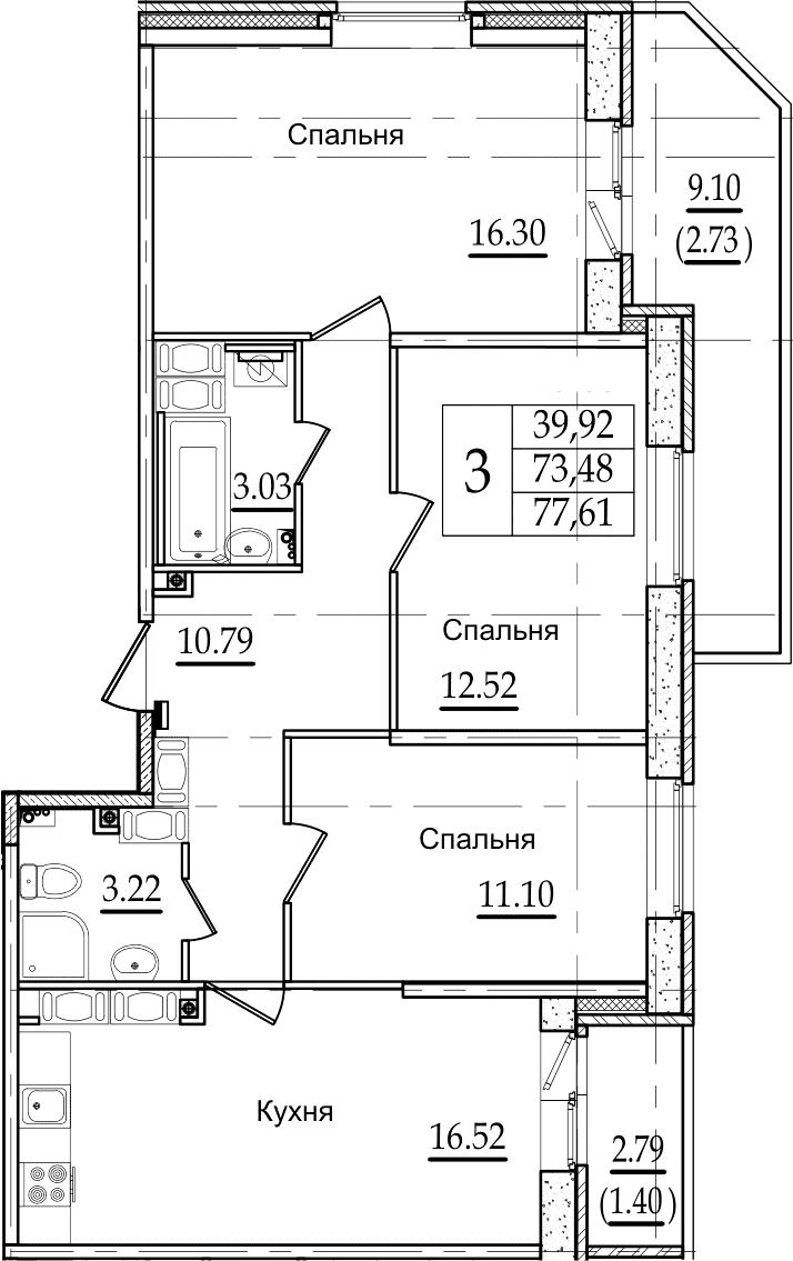 4Е-к.кв, 77.61 м², 23 этаж