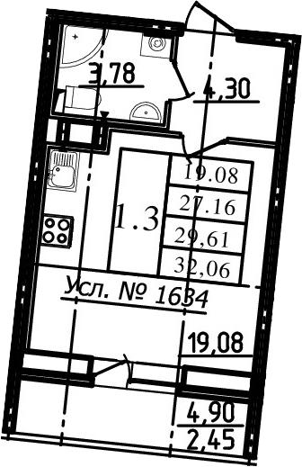 Студия, 27.16 м², 3 этаж