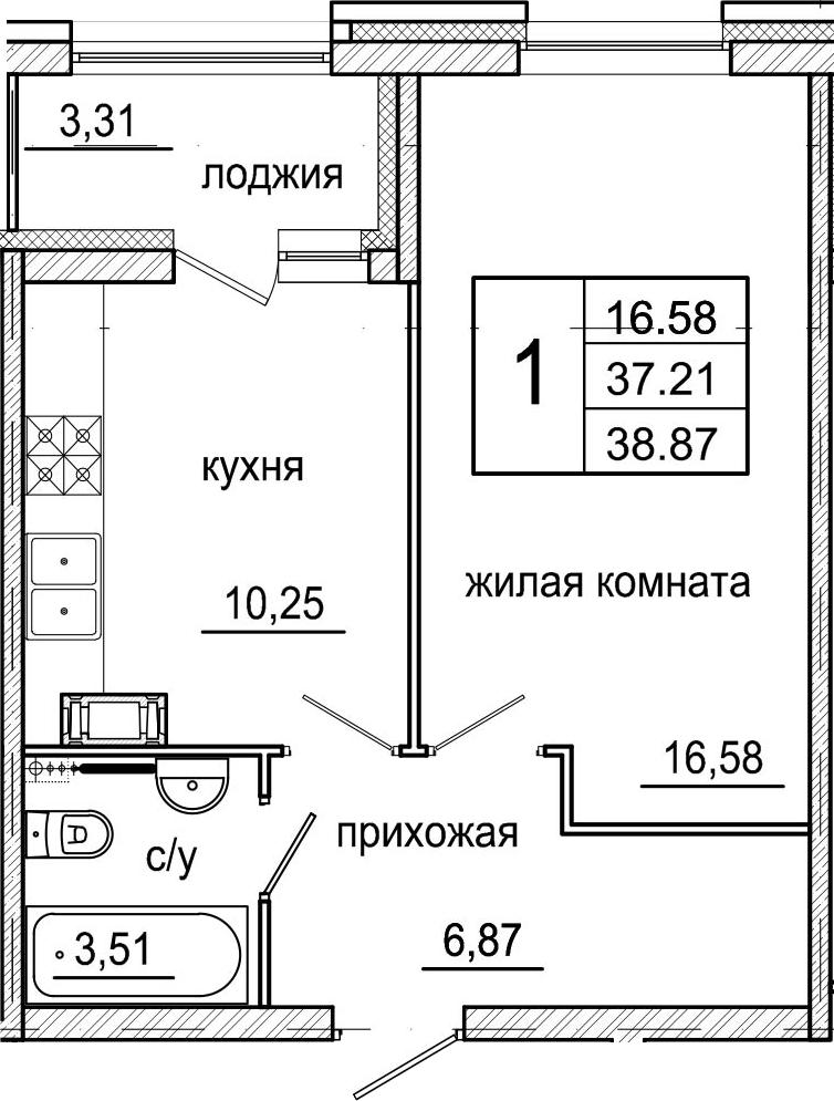 1-комнатная, 38.87 м²– 2