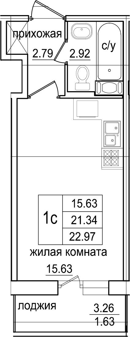Студия, 22.97 м², от 6 этажа