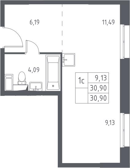Студия, 30.9 м², 1 этаж