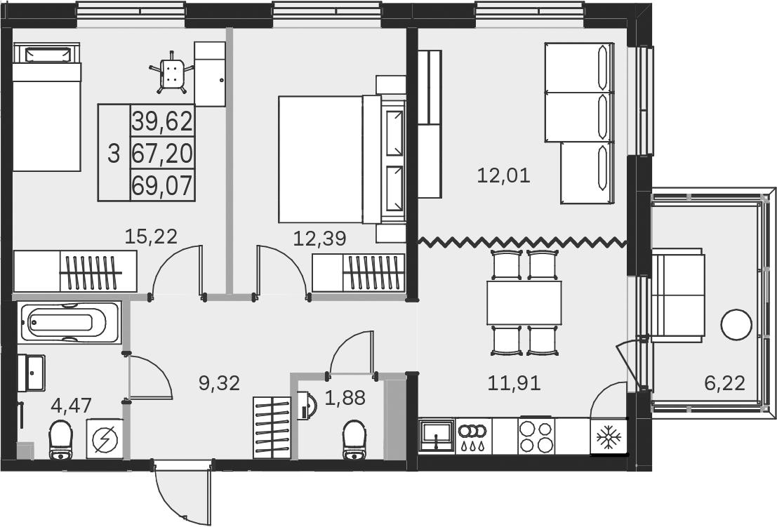 3-к.кв, 73.44 м²