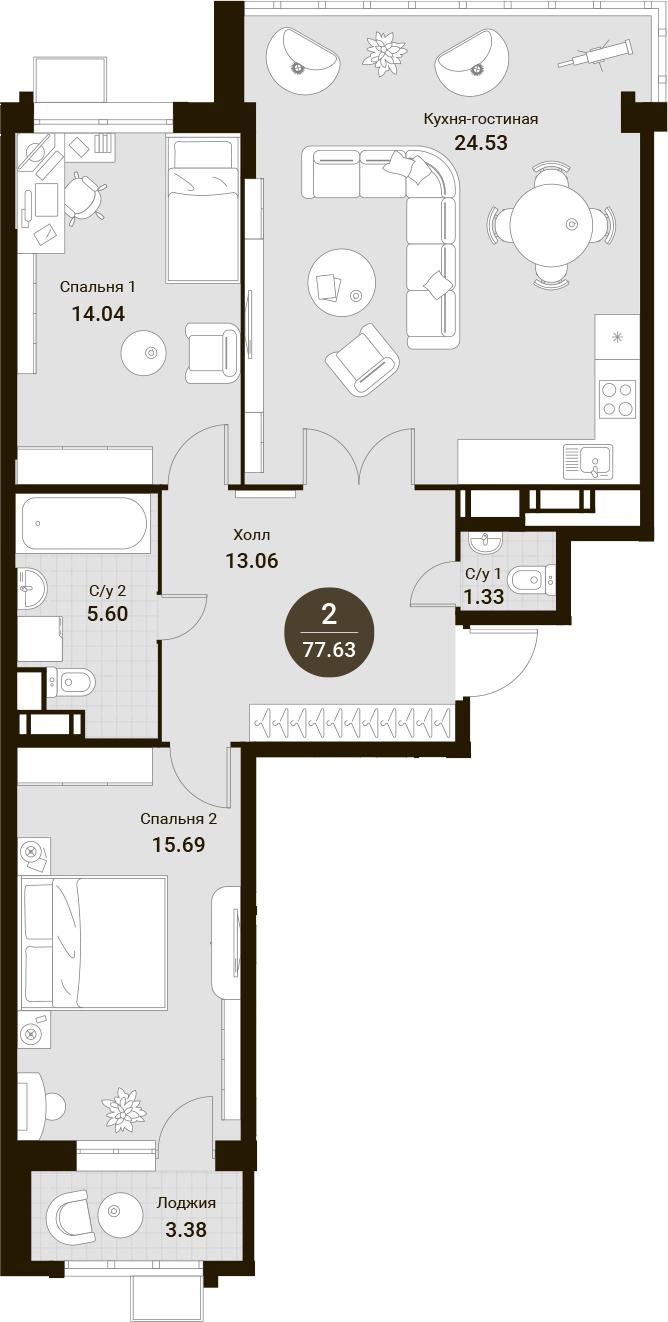 3Е-комнатная, 84.93 м²– 2
