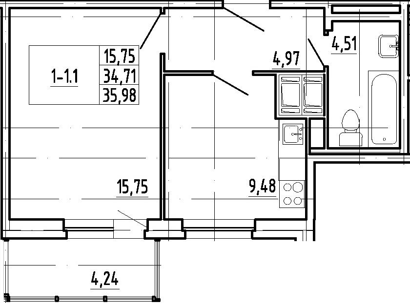 1-комнатная, 34.71 м²– 2