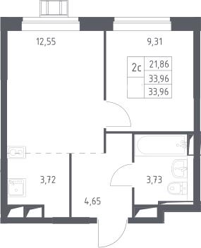 2Е-комнатная, 33.96 м²– 2