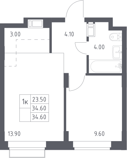 2Е-к.кв, 34.6 м², 8 этаж