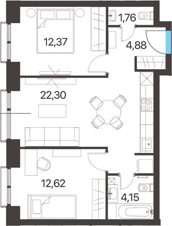 2-комнатная, 58.08 м²– 2